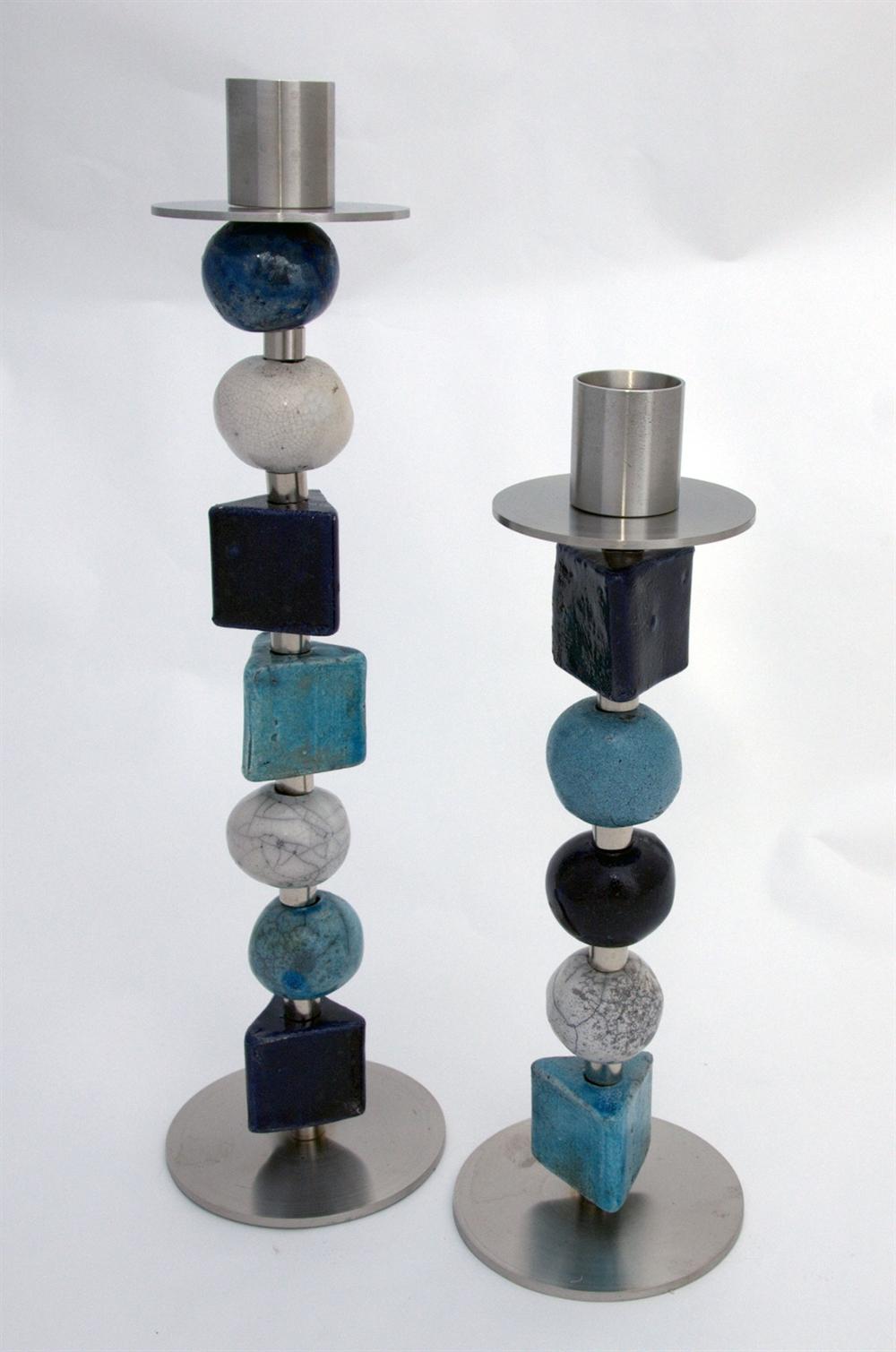 keramik lysestager Keramik lysestager blå keramik lysestager